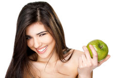 Smiling topless female apple Royalty Free Stock Image
