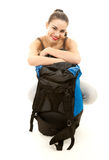 Smiling tourist girl with backpack Royalty Free Stock Images