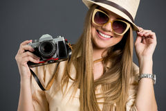 Smiling tourist girl Royalty Free Stock Photo