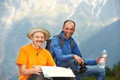 Smiling tourist hiker in india mountains Stock Image