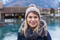Smiling tourist in Interlaken, Switzerland Stock Images