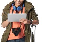 Smiling Tourist Using Digital Tablet Stock Images