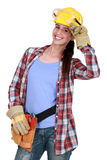 Smiling tradeswoman Stock Image