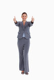Smiling tradeswoman giving thumbs up Royalty Free Stock Photo