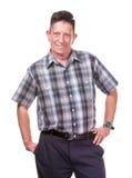 Smiling Transgender Man in Plaid. Smiling Confident Transgender Man in plaid shirt on White Background Stock Photo
