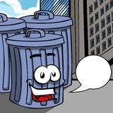 Smiling Trash can with speech bubble Royalty Free Stock Photo