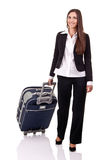 Smiling traveler business woman Stock Images