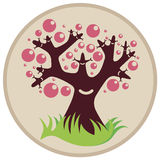 Smiling tree with pink bubbles Royalty Free Stock Photography
