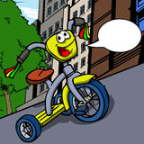 Smiling tricycle with speech bubble Stock Photography