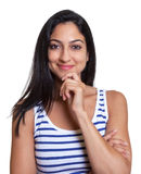 Smiling turkish woman in a striped shirt. Smiling turkish woman with long black hair in a striped shirt an isolated white background for cut out Royalty Free Stock Images