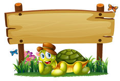 A smiling turtle below the empty wooden board Royalty Free Stock Photo