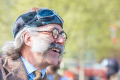 Smiling Tweed Run participant in great vintage costumes Stock Photos