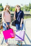 Smiling twins girls with shopping bags Stock Images