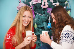 Smiling two friends having Christmas coffee Royalty Free Stock Images