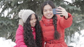 Smiling two girl taking a selfie with smartphone outdoors in warm clothes. Beautiful happy sisters wearing jacket and hat enjoying time in the park and sending stock video footage