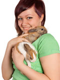 Smiling with two rabbits Royalty Free Stock Photo