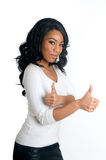 Smiling two Thumbs up woman. Smiling African American Woman with two thumbs up gesture Stock Photography