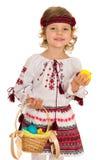 Smiling Ukrainian girl with Easter basket Royalty Free Stock Photo
