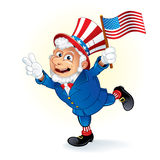 Smiling Uncle Sam. Illustration of Smiling Cartoon Uncle Sam Royalty Free Stock Photos