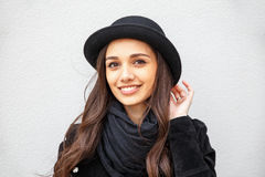 Free Smiling Urban Girl With Smile On Her Face. Portrait Of Fashionable Gir Wearing A Rock Black Style Having Fun Outdoors In The City Stock Image - 73346991