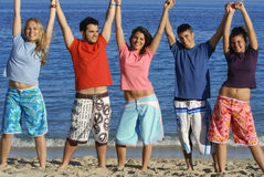 Smiling vacation group. Group of smiling teenagers, fun at beach. vacation royalty free stock photo