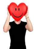 Smiling Valentine heart face Stock Photos