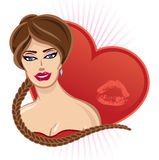 Smiling Valentines pin up with heart Royalty Free Stock Photography