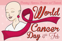 Smiling Valiant Woman with Ribbon Celebrating World Cancer Day, Vector Illustration Stock Photo