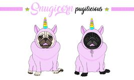 Smiling vector pug puppy dog sitting down, wearing pink jumpsuit with unicorn horn with rainbow colors. Cute smiling vector pug puppy dog sitting down, wearing vector illustration
