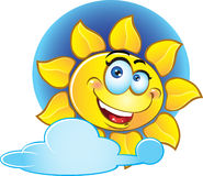 Smiling vector yellow sun Stock Photography