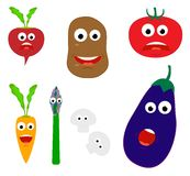 Smiling vegetables. Cartoon vegetables with different faces Royalty Free Stock Images