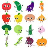 Smiling vegetables icons set, cartoon style. Smiling vegetables icons set. Cartoon illustration of 16 smiling vegetables vector icons for web Stock Photo