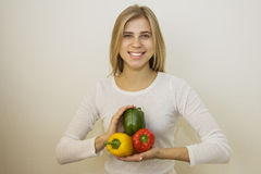 Smiling vegetarian Stock Photo