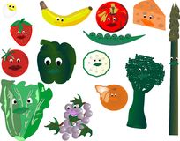 Smiling Veggie faces Royalty Free Stock Image