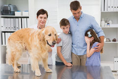 Smiling vet examining a dog with its scared owners Royalty Free Stock Image