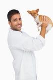 Smiling vet lifting up chihuahua Royalty Free Stock Photos