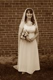 Smiling Vintage Bride Stock Photo