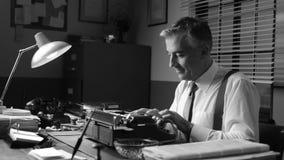 Smiling vintage reporter working at desk