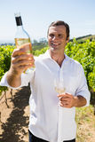 Smiling vintner examining wine Royalty Free Stock Photography