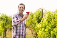 Smiling vintner holding glass of wine Stock Image