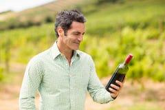 Smiling vintner looking at bottle of wine Stock Images