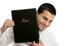Smiling waiter or businessman Royalty Free Stock Image