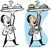 Waiter Holding Tray of Food royalty free illustration