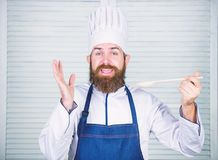 Smiling waiter. Vegetarian. Mature chef with beard. Healthy food cooking. Dieting and organic food, vitamin. Bearded man stock photos