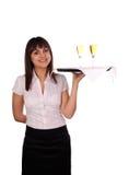 Smiling waitress Stock Images