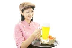 Smiling waitress Stock Photo