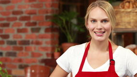 Smiling waitress gesturing okay sign stock footage