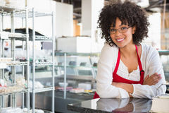 Smiling waitress with glasses leaning on counter Stock Photos