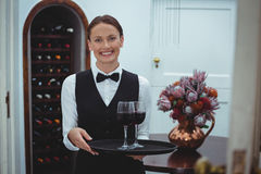 Smiling waitress holding a tray with glasses of red wine Stock Image