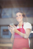 Smiling waitress sending a text Stock Images
